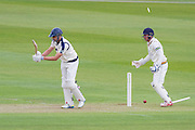 Rhodes (Yorkshire CCC) clean bowled by Jamie Harrison(Durham County Cricket Club) during the LV County Championship Div 1 match between Durham County Cricket Club and Yorkshire County Cricket Club at the Emirates Durham ICG Ground, Chester-le-Street, United Kingdom on 28 June 2015. Photo by George Ledger.