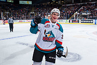 KELOWNA, CANADA - NOVEMBER 11: Liam Kindree #26 of the Kelowna Rockets skates to the bench to celebrate a goal against the Red Deer Rebels on November 11, 2017 at Prospera Place in Kelowna, British Columbia, Canada.  (Photo by Marissa Baecker/Shoot the Breeze)  *** Local Caption ***