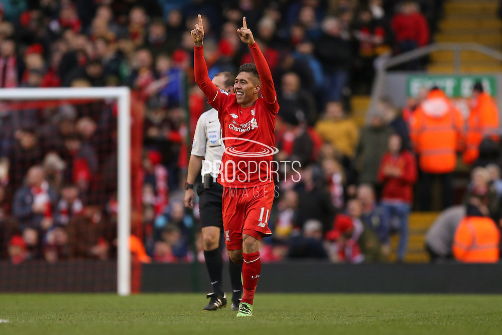 Liverpool midfielder Roberto Firmino  celebrates his goal  during the Barclays Premier League match between Liverpool and Sunderland at Anfield, Liverpool, England on 6 February 2016. Photo by Simon Davies.
