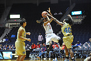 "Ole Miss guard A'Queen Hayes (3) shoots against Southern University Jaguars guard Cortnei Purnell (40) at the C.M. ""Tad"" Smith Coliseum in Oxford, Miss. on Thursday, November 20, 2014. (AP Photo/Oxford Eagle, Bruce Newman)"