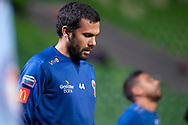 Newcastle Jets defender Nikolai Topor-Stanley (44) during warm up at the FFA Cup Round 16 soccer match between Melbourne City FC v Newcastle Jets at AAMI Park in Melbourne.