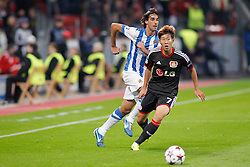 02.10.2013, BayArena, Leverkusen, GER, UEFA Champions League, Bayer 04 Leverkusen vs Real Sociedad San Sebastian, Gruppe A, im Bild Carlos Martinez #2 (Real Sociedad de Futbol San Sebastian) and Heung-Min Son #7 (Bayer 04 Leverkusen) (left to right). Aktion, Action --- Bayer Leverkusen 04 - Real Sociedad de Futbol San Sebastian, Fussball, UEFA Champions League, 02.10.2013 --- // during UEFA Champions League group A match between Bayer 04 Leverkusen and Real Sociedad de Futbol San Sebastian at the BayArena in Leverkusen, Germany. EXPA Pictures © 2013, PhotoCredit: EXPA/ Eibner/ Grimme<br /> <br /> ***** ATTENTION - OUT OF GER *****