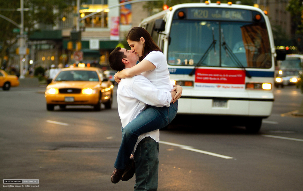 The engagement portrait of Shoshana Kovak and Greg Parets, made July 28, 2005 in Manhattan at and around Lincoln Center.