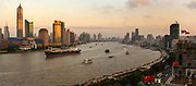 Pudong skyline and the Yangtse River Modernising Shanghai