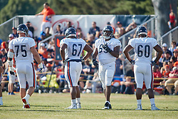 July 28, 2018 - Bourbonnais, IL, U.S. - BOURBONNAIS, IL - JULY 28: Chicago Bears offensive guard Kyle Long (75), Chicago Bears offensive guard Jordan Morgan (67), Chicago Bears offensive guard Jeremi Hall (63) and Chicago Bears offensive lineman Brandon Greene (60) participates in drills during the Chicago Bears training camp on July 28, 2018 at Olivet Nazarene University in Bourbonnais, Illinois. (Photo by Robin Alam/Icon Sportswire) (Credit Image: © Robin Alam/Icon SMI via ZUMA Press)