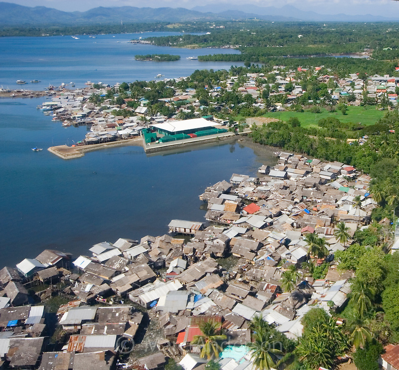 Aerial view of shanty towns in Puerto Princesa Bay, Palawan, Philippines
