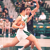 2nd year guard, Carolina Goncalves (11) of the Regina Cougars during the Women's Basketball Home Game on Thu Feb 14 at Centre for Kinesiology,Health and Sport. Credit: Arthur Ward/Arthur Images
