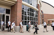 Master's in Athletic Administration students depart Ping Center during a walking tour of campus on Friday, June 26, 2015. © Ohio University / Photo by Rob Hardin