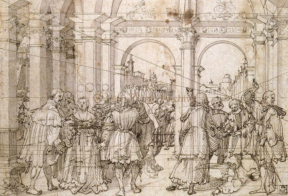 The Story of Lucretia'.  Jörg Breu the Elder (ca 1475-1537) German painter. Pen and black ink on paper.