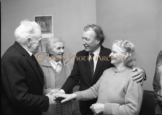 Image of Fianna Fáil leader Charles Haughey touring West Cork during his 1982 election campaign...04/02/1982.02/04/82.4th February 1982..The age we live in:..Charles Haughey calls at St Michael's Centre for Old Folk, Bandon. Here he can be seen in conversation with John O'Driscoll and Margaret Deasey to his right, and with the centre's director, Dorothy Beamish to his left. .