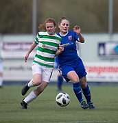 Forfar Farmington's Danni McGinley battles for the ball with Celtic's Collette Cavanagh - Celtic v Forfar Farmington in the SWPL Cup semi final at Falkirk, Falkirk Stadium,<br /> <br />  - &copy; David Young - www.davidyoungphoto.co.uk - email: davidyoungphoto@gmail.com
