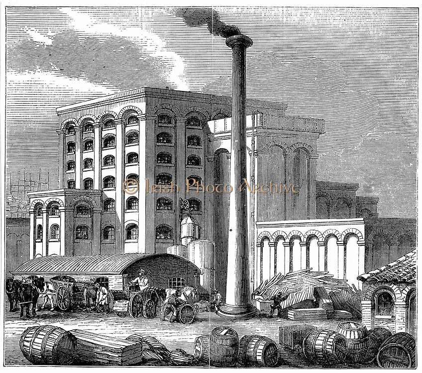 Sugar refinery, Southampton, England opened 1851. Boiler house, left foreground, engine house, centre left. Stove and retort house, centre & centre right. Right foreground is corner of lodging house for the workers, most of whom lived on site. Wood engraving.