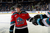 KELOWNA, BC - OCTOBER 2:   Elias Carmichael #14 of the Kelowna Rockets celebrates a goal against the Tri-City Americans at Prospera Place on October 2, 2019 in Kelowna, Canada. (Photo by Marissa Baecker/Shoot the Breeze)