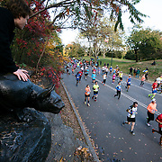 NYTRUN - NOV. 6, 2016 - NEW YORK - Perched atop Cat Hill, Dan Levinsohn cheers on runners in the 2016 TCS New York City Marathon, in Central Park on Sunday afternoon. NYTCREDIT:  Karsten Moran for The New York Times