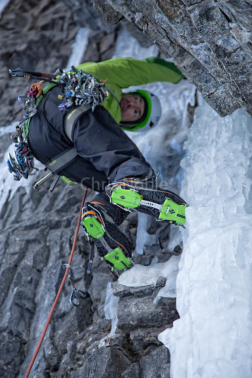 """Alpinist Raphael Slawinski climbing his route """"French Roast"""" WI 5, M6 on the Stanley Headwall in Kootenay Provincial Park (First Ascent 2008)"""