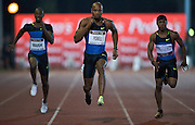 (C) ASAFA POWELL (JAMAICA) COMPETES IN THE 100 METERS RUN. POWELL WON AND GOT RESULT 9.89 DURING ATHLETICS MEETING PEDRO'S CUP IN SZCZECIN, POLAND..SZCZECIN , POLAND , SEPTEMBER 17, 2008..( PHOTO BY ADAM NURKIEWICZ / MEDIASPORT )..PICTURE ALSO AVAIBLE IN RAW OR TIFF FORMAT ON SPECIAL REQUEST.