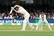 Jos Buttler of England gets a thick edge to hit the ball to the boundary for four runs during the International Test Match 2019 match between England and Australia at Lord's Cricket Ground, St John's Wood, United Kingdom on 18 August 2019.