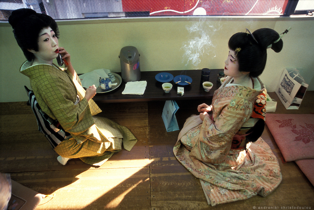 Before the show, backstage of the Geisha theater in Atami. They came all dressed up and they spent some time chatting, smoking and correcting their make-up before they went on stage. Atami is about 1,5 hours by train from Tokyo and is concidered the second big geisha place after Kyoto. It is a hot-spring resort and the geishas there are many times called hot-spring geishas, suggesting that they are not real geishas because they often offer more intimate services.- ATAMI- JAPAN
