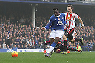 Romelu Lukaku of Everton scores the fourth goal against Sunderland during the Barclays Premier League match at Goodison Park, Liverpool.<br /> Picture by Michael Sedgwick/Focus Images Ltd +44 7900 363072<br /> 01/11/2015