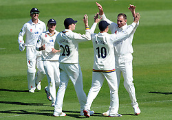 Durham's John Hastings celebrates the wicket of Somerset's Tim Groenewald. - Photo mandatory by-line: Harry Trump/JMP - Mobile: 07966 386802 - 14/04/15 - SPORT - CRICKET - LVCC County Championship - Day 3 - Somerset v Durham - The County Ground, Taunton, England.