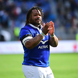 Mathieu Bastareaud of France  on the lap of honour following the Guinness Six Nations match between Italy and France on March 16, 2019 in Rome, Italy. (Photo by Dave Winter/Icon Sport)