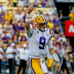 Sep 8, 2018; Baton Rouge, LA, USA; LSU Tigers quarterback Joe Burrow (9) celebrates after a touchdown pass against the Southeastern Louisiana Lions during the first quarter of a game at Tiger Stadium. Mandatory Credit: Derick E. Hingle-USA TODAY Sports
