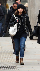 Actress Keira Knightley wearing a beanie hat, leather bikers jacket, jeans and pair of Dr Martens boots out and about in West London, UK. 22/03/2013<br />BYLINE MUST READ : JAMESY/GOTCHA IMAGES<br /><br />Copyright by © Gotcha Images Ltd. All rights reserved.<br />Usage of this image is conditional upon the acceptance <br />of Gotcha Images Ltd, terms and conditions available at<br />www.gotchaimages.com