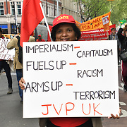 London, UK. 1st May, 2019. Thousands of people joined the annual May Day march on May 1st, 2019 in London.