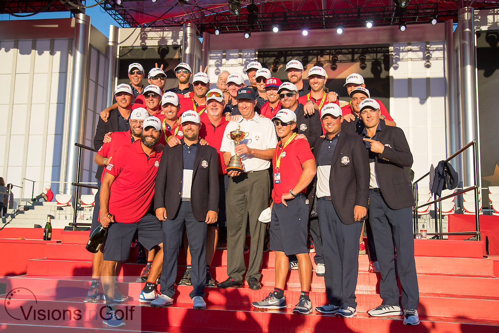winning Team USA with the trophy at the presentation with caddies caddy <br /> after winning 17 to 11 points<br /> Sunday singles matches on the final day at the Ryder Cup 2016