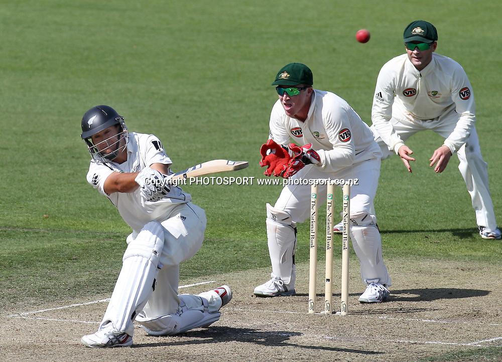 New Zealand batsman Ross Taylor batting as Australian players Brad Haddin and Michael Clarke look on.<br />Test Match Cricket. 2nd test. Day 2.<br />New Zealand Black Caps versus Australia. Seddon Park, Hamilton, New Zealand. Sunday 28 March 2010. <br />Photo: Andrew Cornaga/PHOTOSPORT