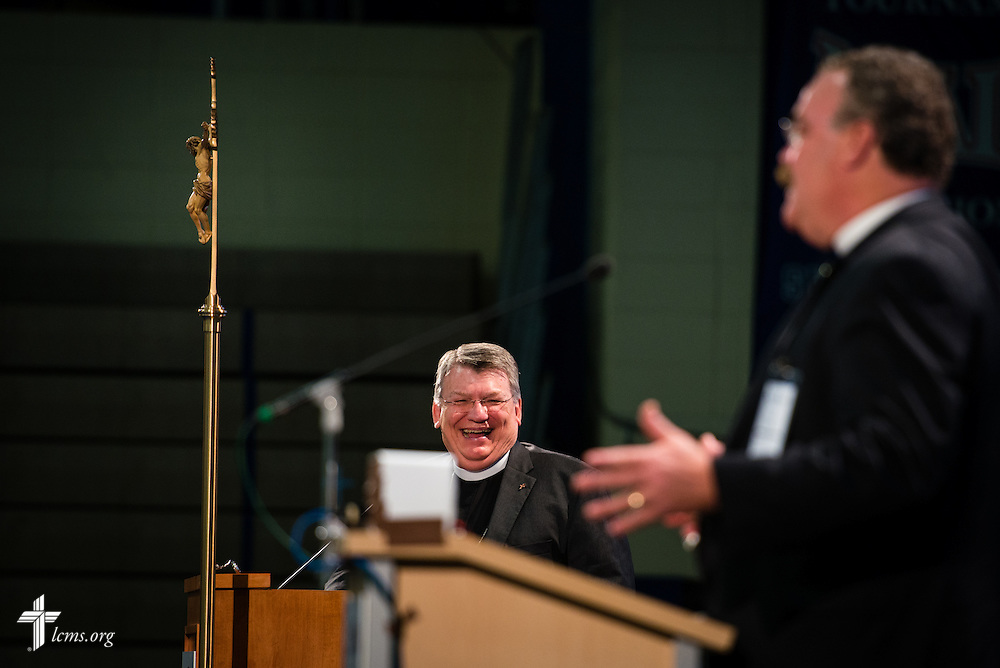 The Rev. Dr. John Wille, president of the South Wisconsin District, reacts as the Rev. Dr. Matthew C. Harrison, president of The Lutheran Church–Missouri Synod, speaks at the 54th Convention of the South Wisconsin District on Tuesday, June 9, 2015, at Concordia University Wisconsin in Mequon, Wis. LCMS Communications/Erik M. Lunsford