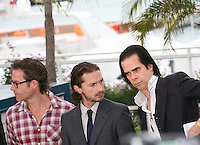 Guy Pearce, Shia Labeouf, Nick Cave,  at the Lawless film photocall at the 65th Cannes Film Festival. The screenplay for the film Lawless was written by Nick Cave and Directed by John Hillcoat. Saturday 19th May 2012 in Cannes Film Festival, France.