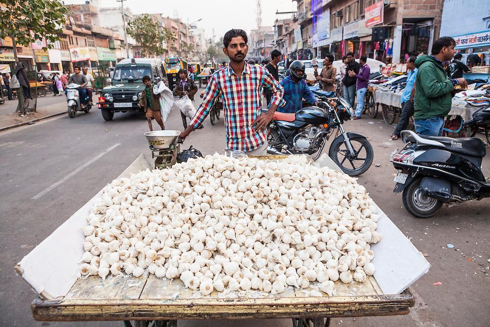 A man standing behind his cart full of garlic for sale in Sardar Market, Jodhpur, Rajasthan, India.
