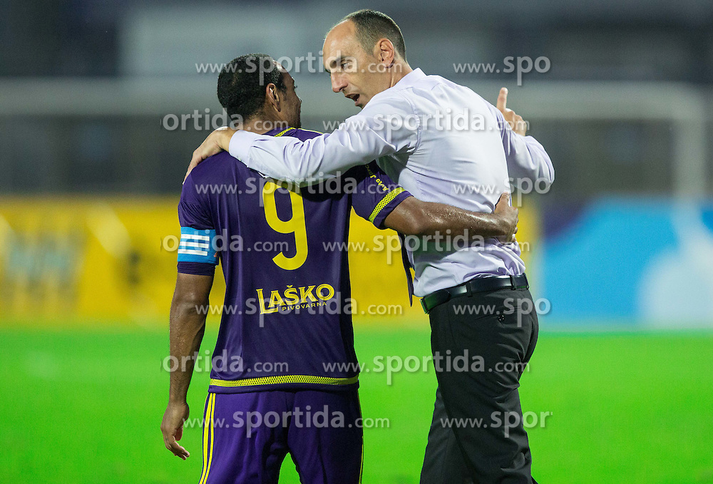 Marcos Tavares #9 of Maribor and Krunoslav Jurcic, head coach of Maribor celebrate after winning during football match between ND Gorica and NK Maribor in 9th Round of Prva liga Telekom Slovenije 2015/16, on September 12, 2015, in Sports centrum Nova Gorica, Slovenia. Photo by Vid Ponikvar / Sportida