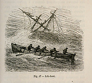 19th century Woodcut print on paper of a lifeboat from L'art Naval by Leon Renard, Published in 1881