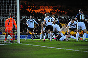 Goal! Carl Dickinson of Port Vale FC watches his effort past Daniel Bentley of Southend United to make it 1-0 during the Sky Bet League 1 match between Port Vale and Southend United at Vale Park, Burslem, England on 26 February 2016. Photo by Mike Sheridan.