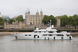 © Licensed to London News Pictures. 16/05/2018. London, UK. Superyacht, Lady M II passes the Tower of London this morning before mooring next to HMS Belfast. The 164 feet long superyacht, Lady M II (previously named Lady M) is rumoured to be owned by politician and businessman, Lord Ashcroft. A different superyacht, called Lady M visited Glasgow and Cumbria last year and was reported to be owned by Russia's richest Billionaire, Alexi Mordashov. Lady M II sleeps up to 11 guests in 6 rooms and is also capable of carrying up to 12 crew onboard. Lady M II was designed by Donald Starkey with various luxuries onboard, including a deck jacuzzi and is advertised for charter at USD180,000 per week plus expenses. Photo credit: Vickie Flores/LNP