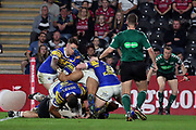 Hull FC centre Josh Griffin (4) crosses the line during the Betfred Super League match between Hull FC and Leeds Rhinos at Kingston Communications Stadium, Hull, United Kingdom on 19 April 2018. Picture by Mick Atkins.