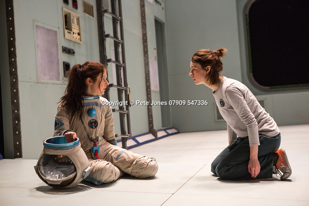 """X"" by Alistair McDowell;<br /> Directed by Vicky Featherstone;<br /> Jessica Raine as Gilda;<br /> Rita Zmitrowicz as Mattie;<br /> 1 April 2016;<br /> Jerwood Theatre Downstairs, Royal Ct, London, UK"