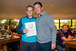 Danny Farren of team 3rd Generation Gas is presented with an award for Longest Drive of the day by Bristol Rovers Manager Darrell Clarke after the annual Bristol Rovers Golf Day - Rogan Thomson/JMP - 10/10/2016 - GOLF - Farrington Park - Bristol, England - Bristol Rovers Golf Day.