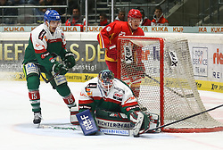 28.11.2014, Curt Frenzel Stadion, Augsburg, GER, DEL, Augsburger Panther vs Duesseldorfer EG, 21. Runde, im Bild Chris Mason (Torwart Augsburger Panther #31) klaert, James Bettauer Augsburger Panther #15, li.), Daniel Kreutzer (Duesseldorfer EG, hinten) // during Germans DEL Icehockey League 21th round match between Augsburger Panther and Duesseldorfer EG at the Curt Frenzel Stadion in Augsburg, Germany on 2014/11/28. EXPA Pictures © 2014, PhotoCredit: EXPA/ Eibner-Pressefoto/ Krieger<br /> <br /> *****ATTENTION - OUT of GER*****