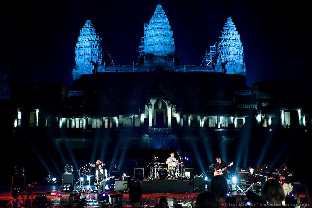 The band Placebo performs at Angkor Wat for the MTV Exit campaign to build awareness of human trafficking and exploitation.
