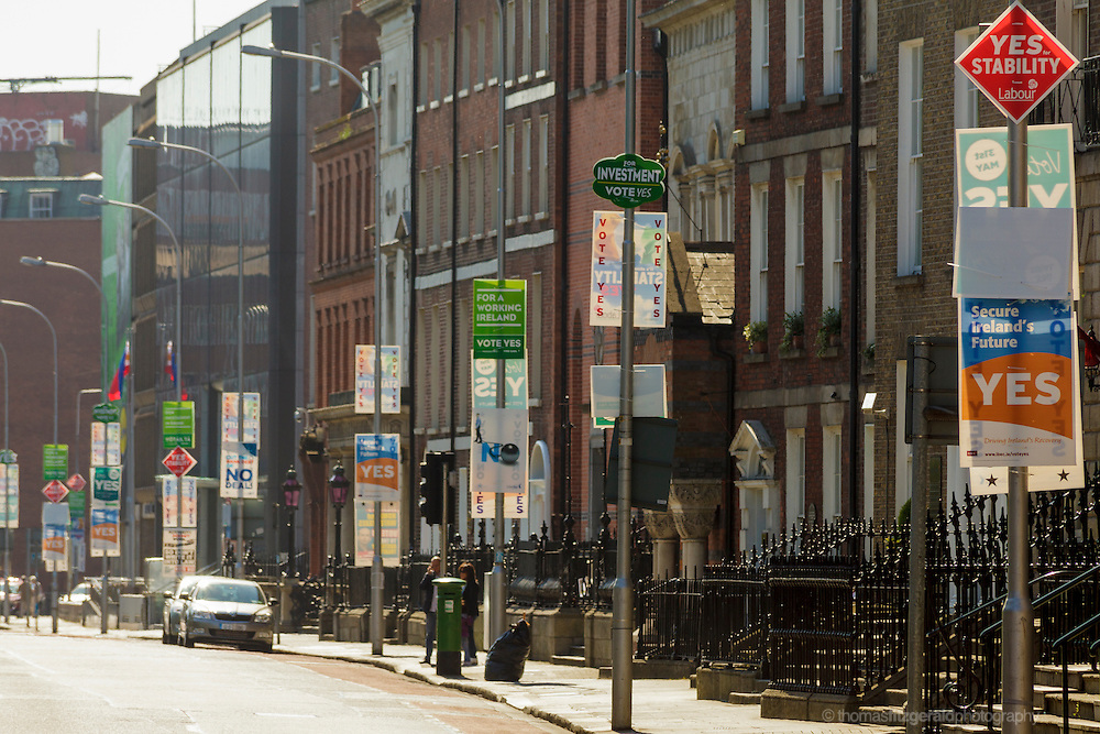 MAy 2012, Dublin City, Ireland: Referendum Posters cover every pole on a Dublin Street.
