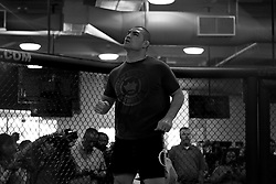 November 10, 2011; Rosemead, CA; USA; UFC Heavyweight Champion Cain Velasquez works out for the media ahead of his upcoming title defense against Junior Dos Santos.  The two will meet on Saturday night at the Honda Center in Anaheim, CA.