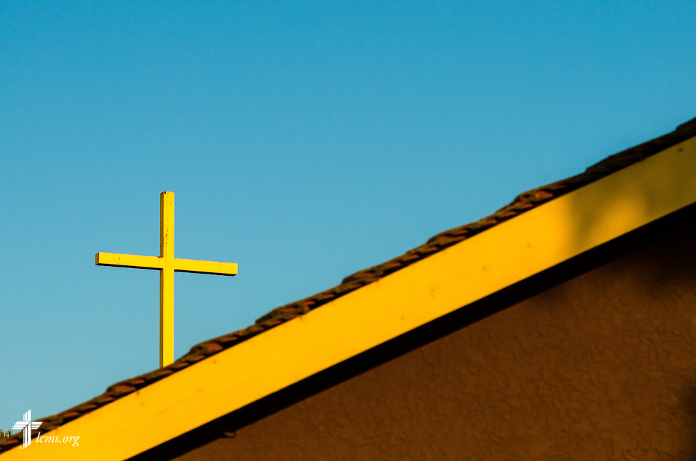A photograph of the cross as the sun sets in front of Good Shepherd Chapel at Concordia University Irvine on Wednesday, July 9, 2014, in Irvine, Calif. LCMS Communications/Erik M. Lunsford
