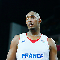 08 August 2012: France Boris Diaw looks dejected during 66-59 Team Spain victory over Team France, during the men's basketball quarter-finals, at the 02 Arena, in London, Great Britain.