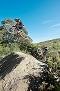 Tyler McCaul and Kyle Strait play follow the leader on Marshall Mullen's mini slopestyle course in Malibu, California.