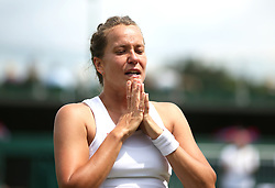 Barbora Strycova celebrates her win in the round of 16 match against Elise Mertens on court 12 on day seven of the Wimbledon Championships at the All England Lawn Tennis and Croquet Club, London.