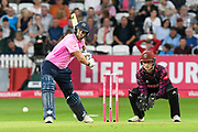 Dawid Malan of Middlesex plays an attacking shot during the Vitality T20 Blast South Group match between Somerset County Cricket Club and Middlesex County Cricket Club at the Cooper Associates County Ground, Taunton, United Kingdom on 30 August 2019.