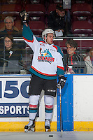 KELOWNA, CANADA - JANUARY 28: Reid Gardiner #23 of the Kelowna Rockets calls for the pass during warm up against the Portland Winterhawks on January 28, 2017 at Prospera Place in Kelowna, British Columbia, Canada.  (Photo by Marissa Baecker/Shoot the Breeze)  *** Local Caption ***
